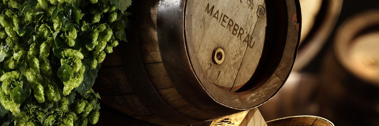 Daenschutz Maierbräu - Bierfass mit Hopfen